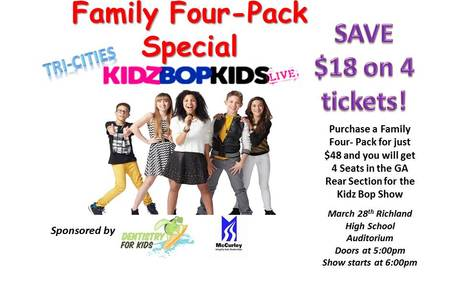Kidz Bop Live - Tri-Cities - Family 4 pack