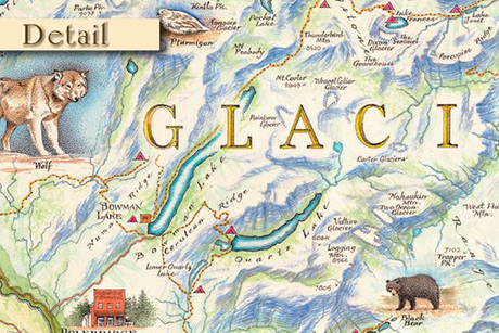 Framed Map of Glacier National Park From The Art Hang-Up