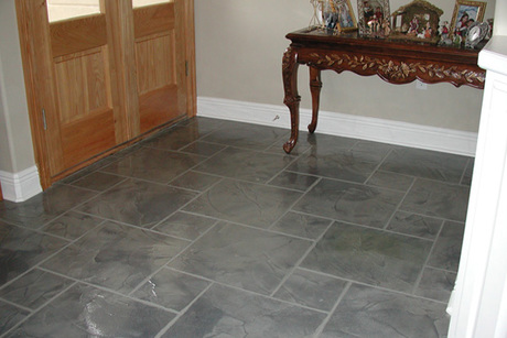Decorative Concrete Overlay for Home Entryway From Custom Concrete Concepts